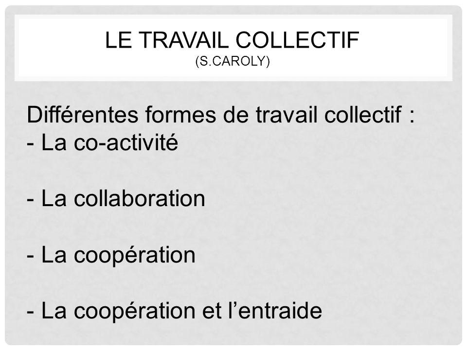LE TRAVAIL COLLECTIF (S.CAROLY) Différentes formes de travail collectif : -La co-activité -La collaboration -La coopération -La coopération et l'entra