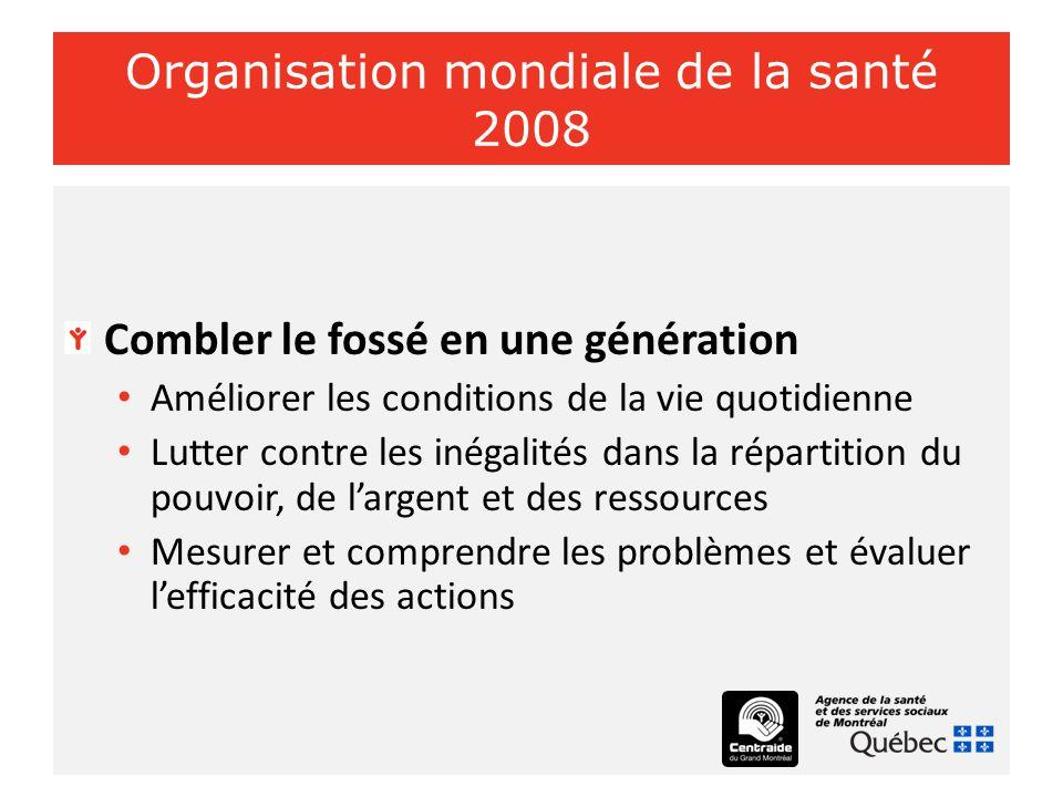 Organisation mondiale de la santé 2008 Combler le fossé en une génération Améliorer les conditions de la vie quotidienne Lutter contre les inégalités dans la répartition du pouvoir, de l'argent et des ressources Mesurer et comprendre les problèmes et évaluer l'efficacité des actions