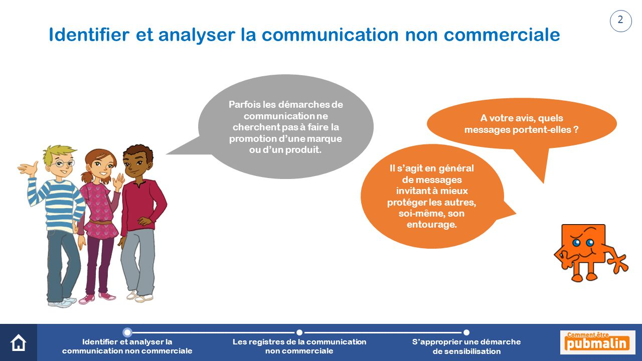 Trimestre 2 - Sensibilisation, prévention, citoyenneté : une communication engagée Identifier et analyser la communication non commerciale A votre avis, quels messages portent-elles .