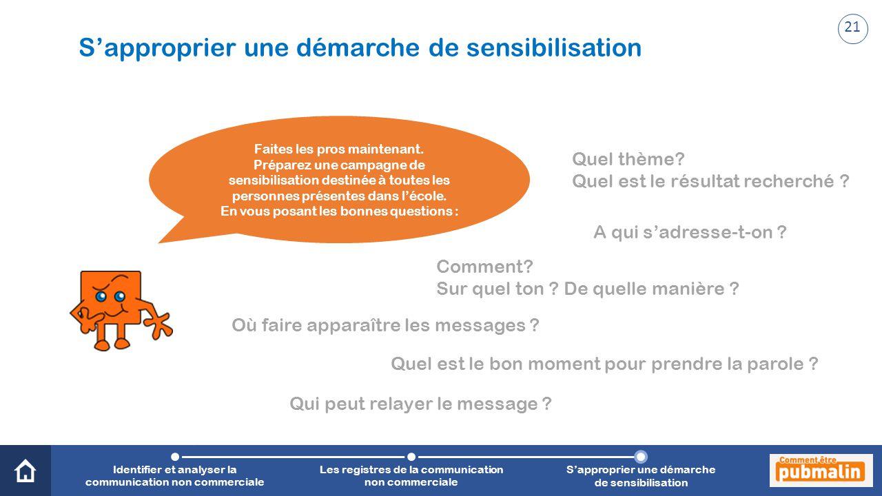 Trimestre 2 - Sensibilisation, prévention, citoyenneté : une communication engagée S'approprier une démarche de sensibilisation Faites les pros maintenant.