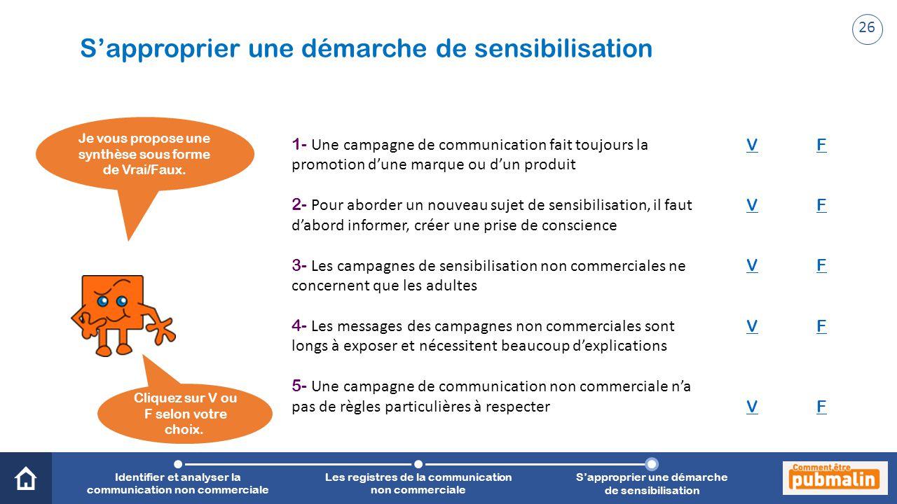 Trimestre 2 - Sensibilisation, prévention, citoyenneté : une communication engagée Je vous propose une synthèse sous forme de Vrai/Faux. 1- Une campag