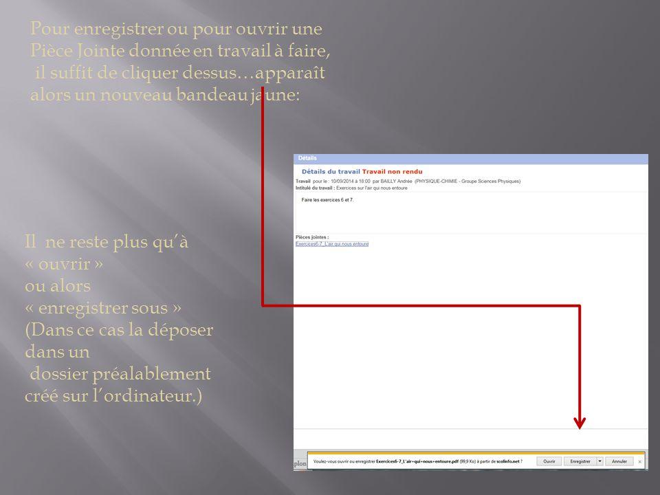 Pour enregistrer ou pour ouvrir une Pièce Jointe donnée en travail à faire, il suffit de cliquer dessus…apparaît alors un nouveau bandeau jaune: Il ne