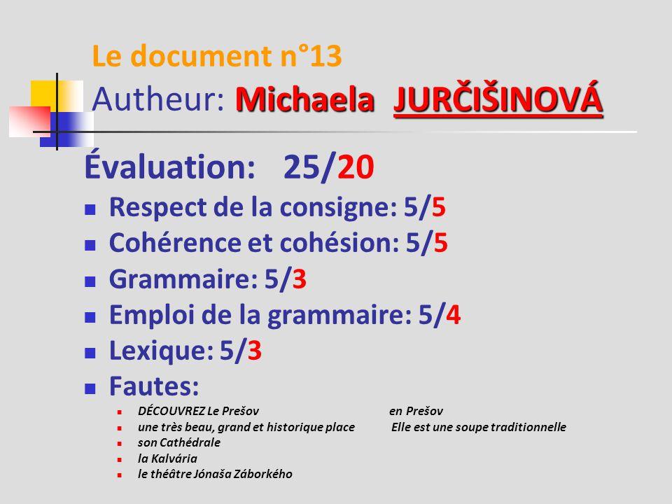 Soňa DIŇOVÁ Le document n°12 Autheur: Soňa DIŇOVÁDIŇOVÁ 17 Évaluation: 25/17 Respect de la consigne: 5/4 Cohérence et cohésion: 5/4 Grammaire: 5/3 Emploi de la grammaire: 5/3 Lexique: 5/3 Fautes: Vous pouvez à la tour et de voir Vizitez de la fontaine Vous asseoir Aller à Kalvária Il est petit musée