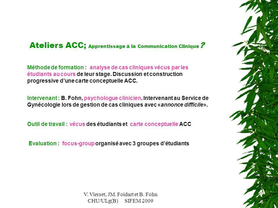 V. Vierset, JM. Foidart et B. Fohn CHU/ULg(B) SIFEM 2009 Ateliers ACC; Apprentissage à la Communication Clinique ? Méthode de formation : analyse de c