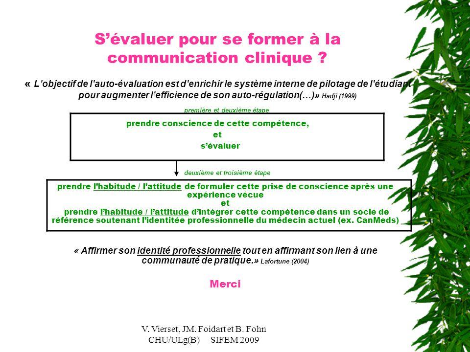 V. Vierset, JM. Foidart et B. Fohn CHU/ULg(B) SIFEM 2009 première et deuxième étape prendre conscience de cette compétence, et s'évaluer S'évaluer pou