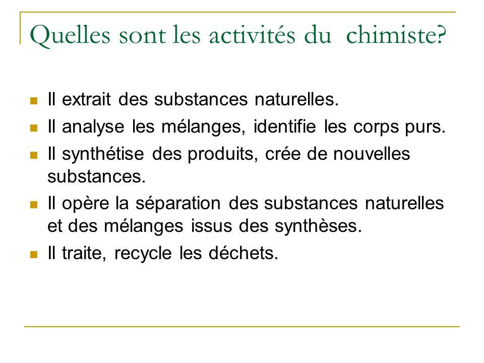Quelles sont les activités du chimiste.Il extrait des substances naturelles.