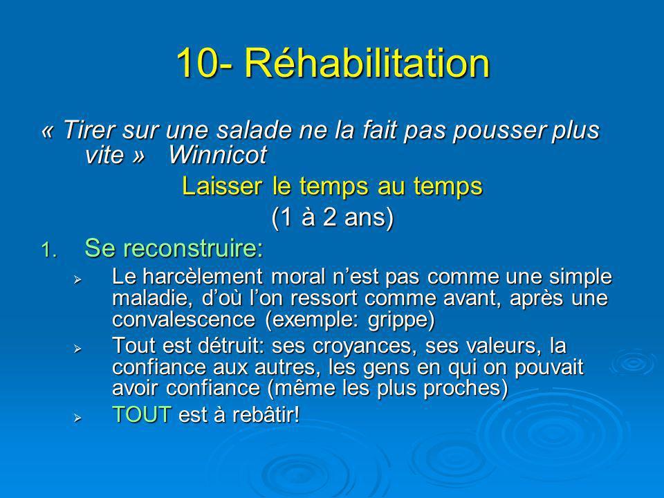 10- Réhabilitation « Tirer sur une salade ne la fait pas pousser plus vite » Winnicot Laisser le temps au temps (1 à 2 ans) 1. Se reconstruire:  Le h
