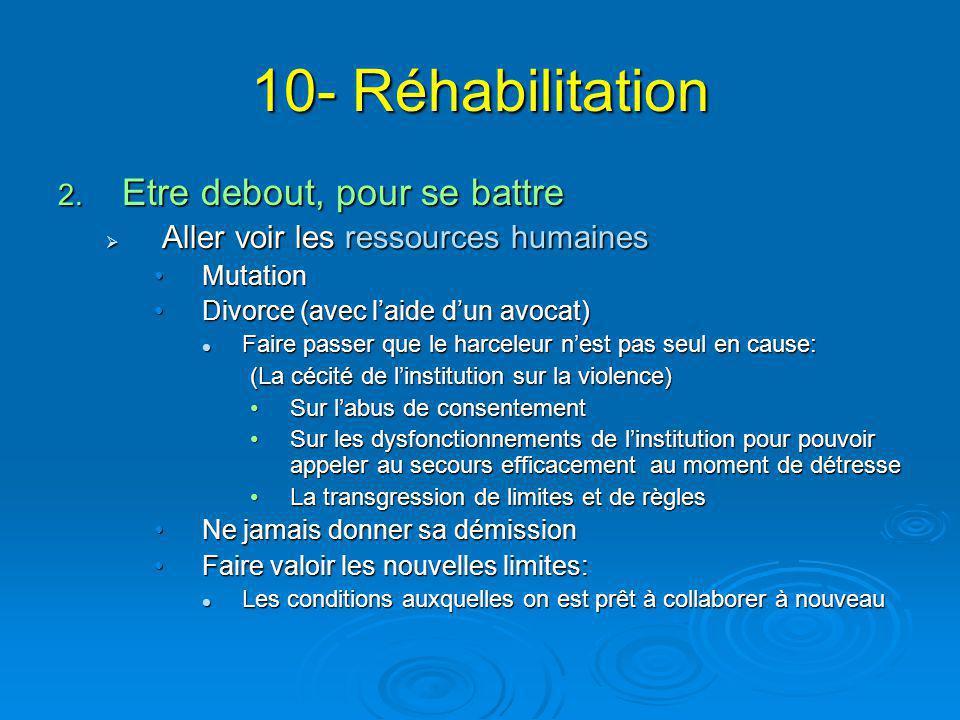 10- Réhabilitation 2. Etre debout, pour se battre  Aller voir les ressources humaines MutationMutation Divorce (avec l'aide d'un avocat)Divorce (avec