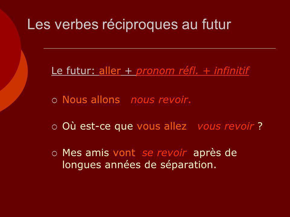 Les verbes réciproques au futur Le futur: aller + pronom réfl. + infinitif  Nous allons nous revoir.  Où est-ce que vous allez vous revoir ?  Mes a