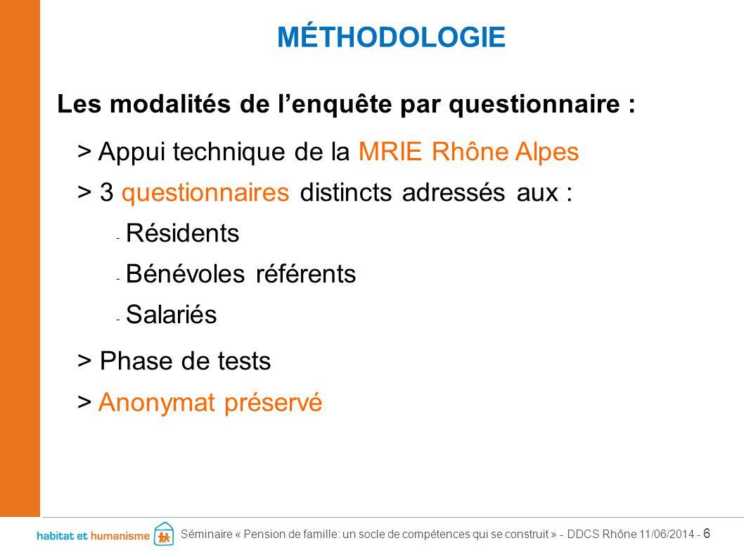 Séminaire « Pension de famille: un socle de compétences qui se construit » - DDCS Rhône 11/06/2014 - 6 Les modalités de l'enquête par questionnaire :