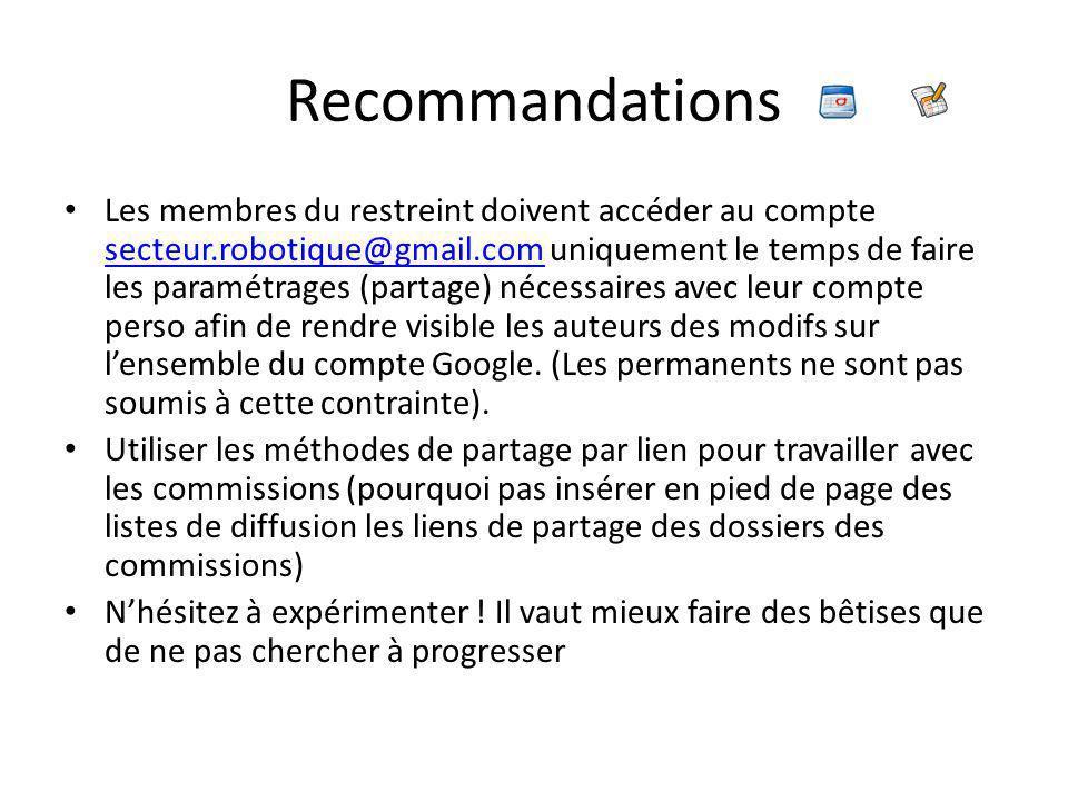 Recommandations Les membres du restreint doivent accéder au compte secteur.robotique@gmail.com uniquement le temps de faire les paramétrages (partage) nécessaires avec leur compte perso afin de rendre visible les auteurs des modifs sur l'ensemble du compte Google.