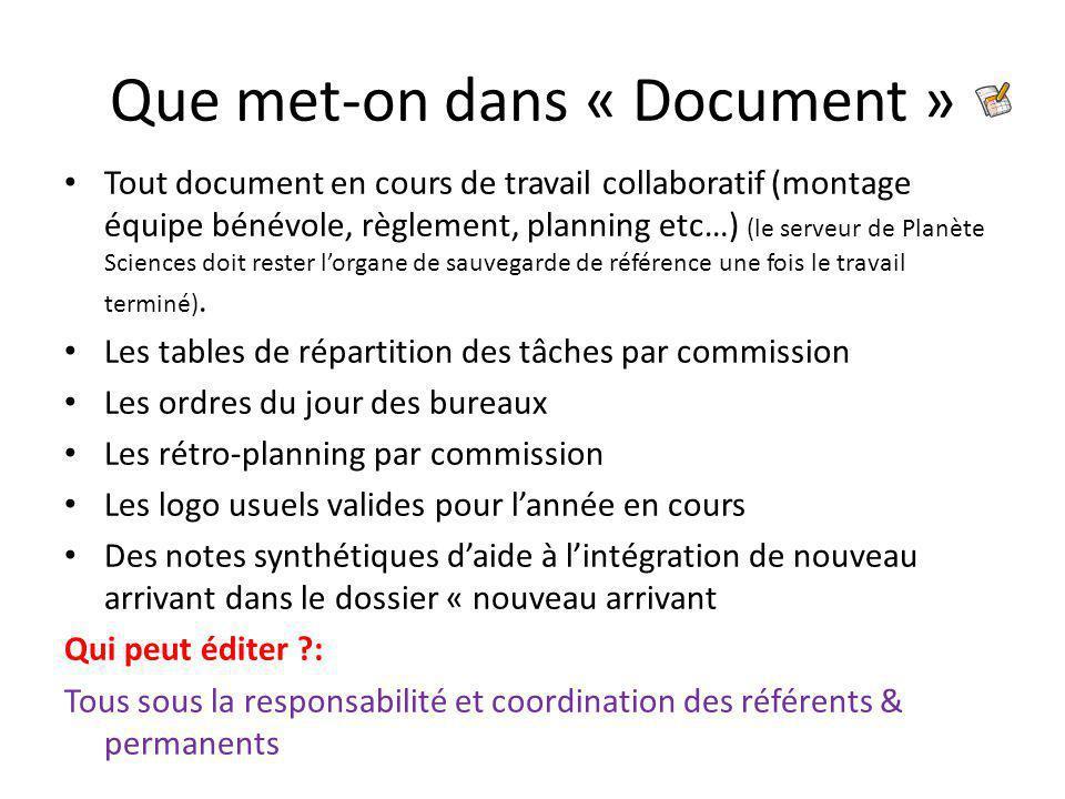 Que met-on dans « Document » Tout document en cours de travail collaboratif (montage équipe bénévole, règlement, planning etc…) (le serveur de Planète Sciences doit rester l'organe de sauvegarde de référence une fois le travail terminé).