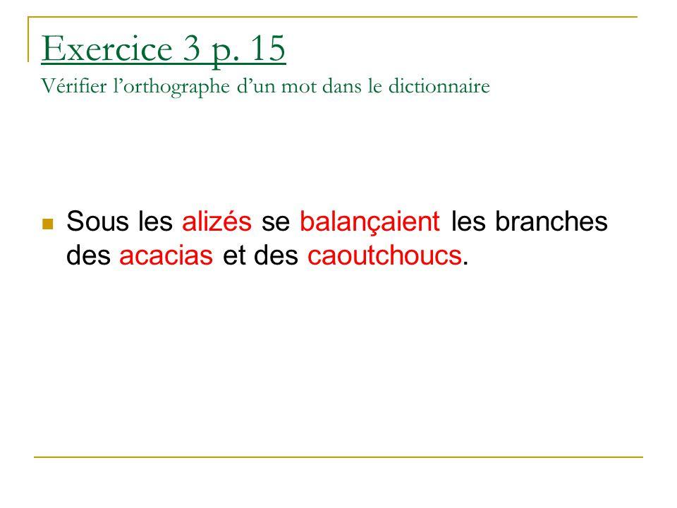 Exercice 3 p. 15 Vérifier l'orthographe d'un mot dans le dictionnaire Sous les alizés se balançaient les branches des acacias et des caoutchoucs.