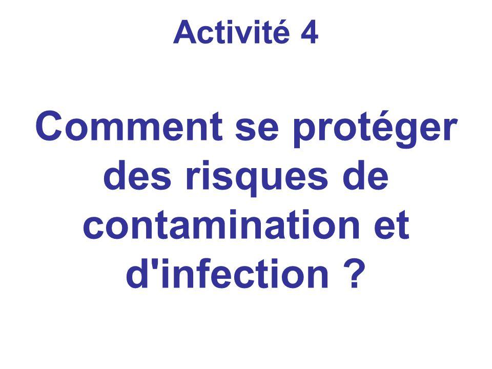 Activité 4 Comment se protéger des risques de contamination et d infection ?
