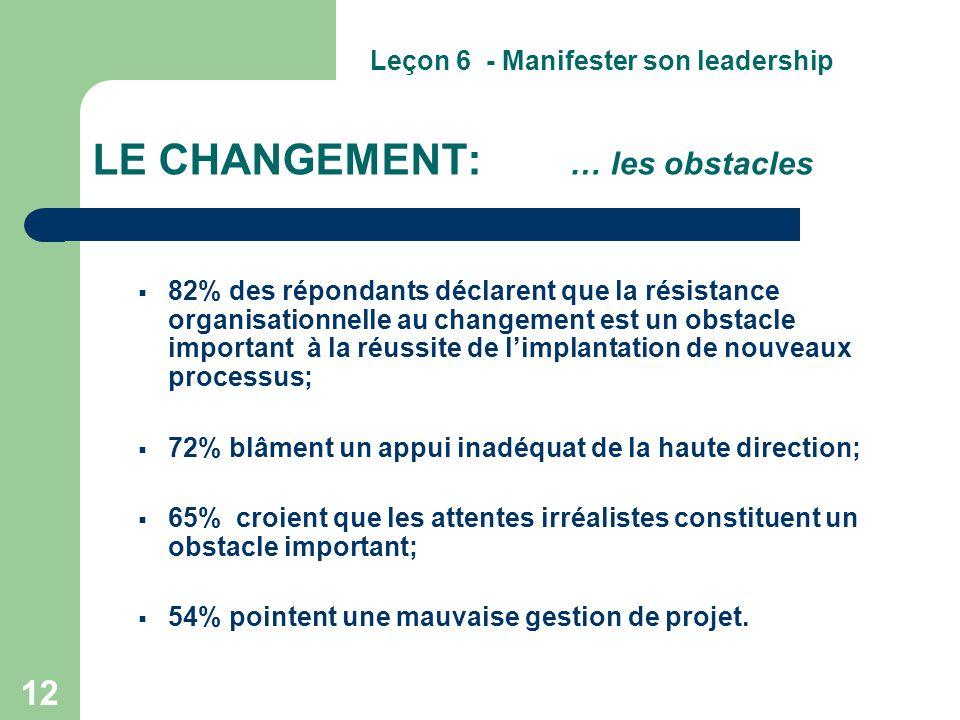 12 LE CHANGEMENT: … les obstacles  82% des répondants déclarent que la résistance organisationnelle au changement est un obstacle important à la réus