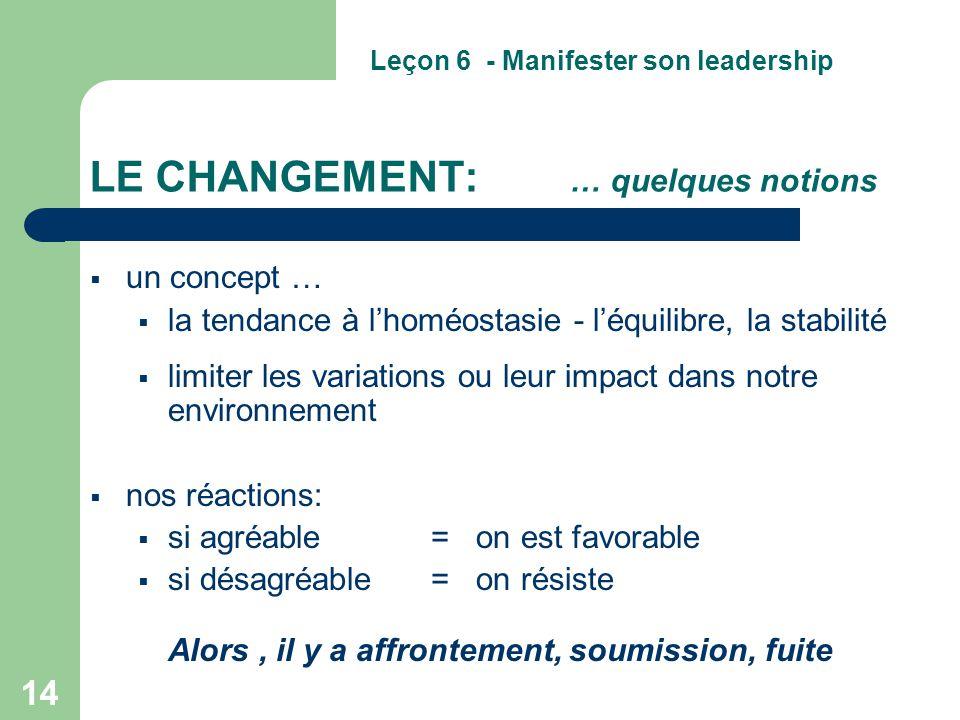 14 LE CHANGEMENT: … quelques notions  un concept …  la tendance à l'homéostasie - l'équilibre, la stabilité  limiter les variations ou leur impact