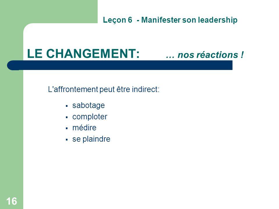 16 LE CHANGEMENT: … nos réactions ! L'affrontement peut être indirect:  sabotage  comploter  médire  se plaindre Leçon 6 - Manifester son leadersh