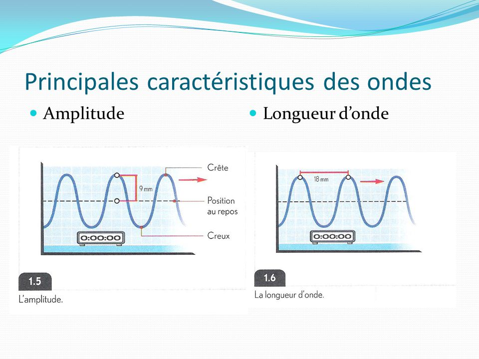 Principales caractéristiques des ondes Amplitude Longueur d'onde