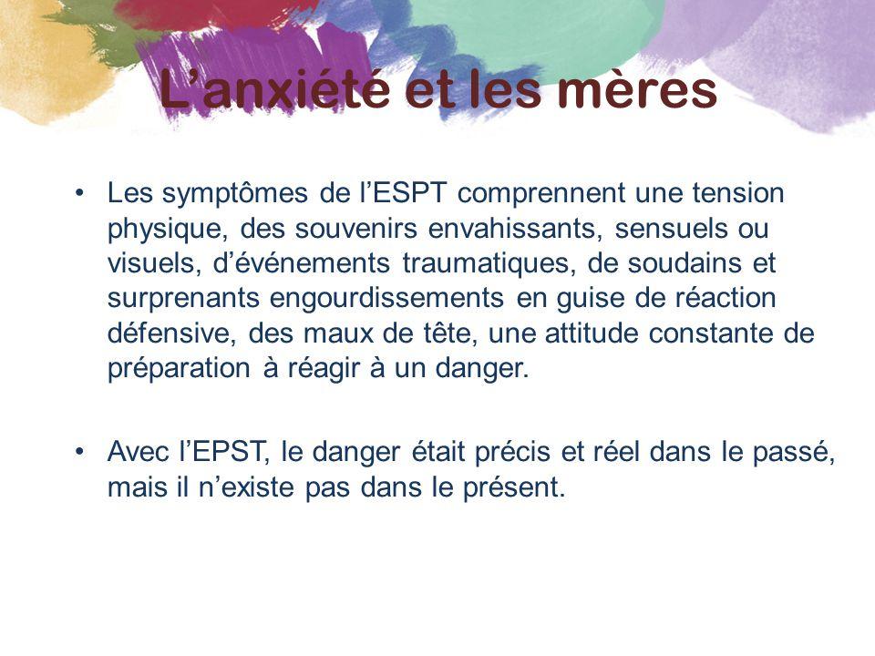 Les symptômes de l'ESPT comprennent une tension physique, des souvenirs envahissants, sensuels ou visuels, d'événements traumatiques, de soudains et s