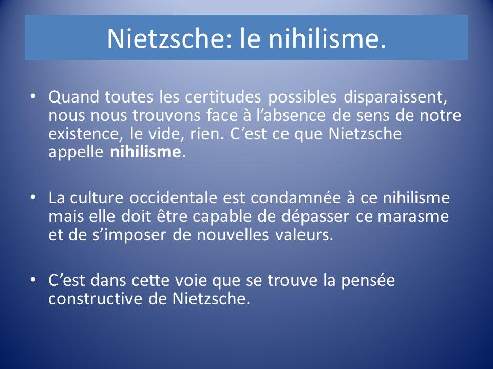 Nietzsche: le nihilisme. Quand toutes les certitudes possibles disparaissent, nous nous trouvons face à l'absence de sens de notre existence, le vide,