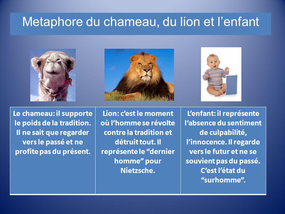 Le chameau: il supporte le poids de la tradition. Il ne sait que regarder vers le passé et ne profite pas du présent. Lion: c'est le moment où l'homme