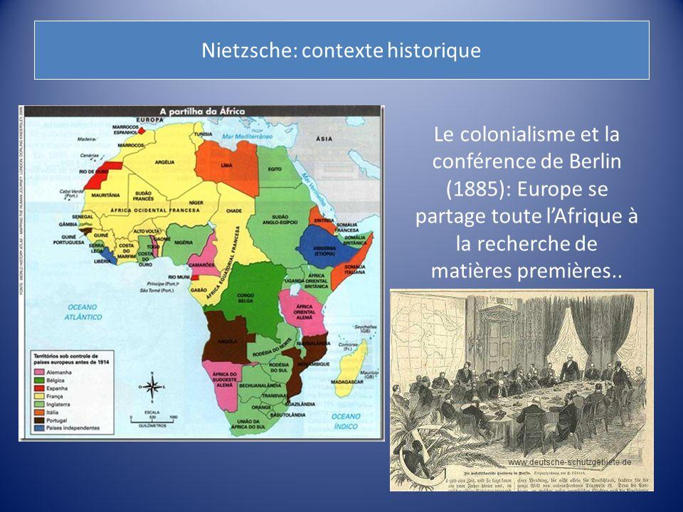 Nietzsche: contexte historique Le colonialisme et la conférence de Berlin (1885): Europe se partage toute l'Afrique à la recherche de matières premièr