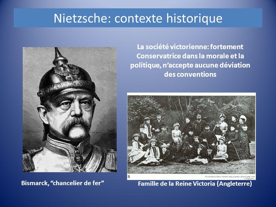 Nietzsche: contexte historique La société victorienne: fortement Conservatrice dans la morale et la politique, n'accepte aucune déviation des conventi