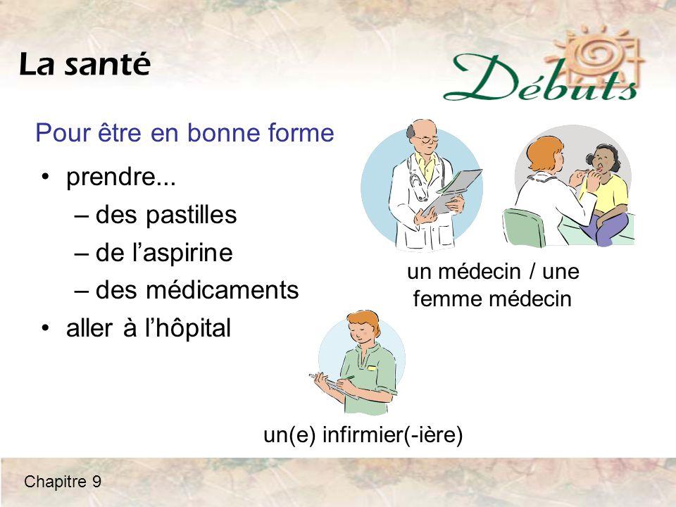 La santé prendre... –des pastilles –de l'aspirine –des médicaments aller à l'hôpital un médecin / une femme médecin un(e) infirmier(-ière) Pour être e