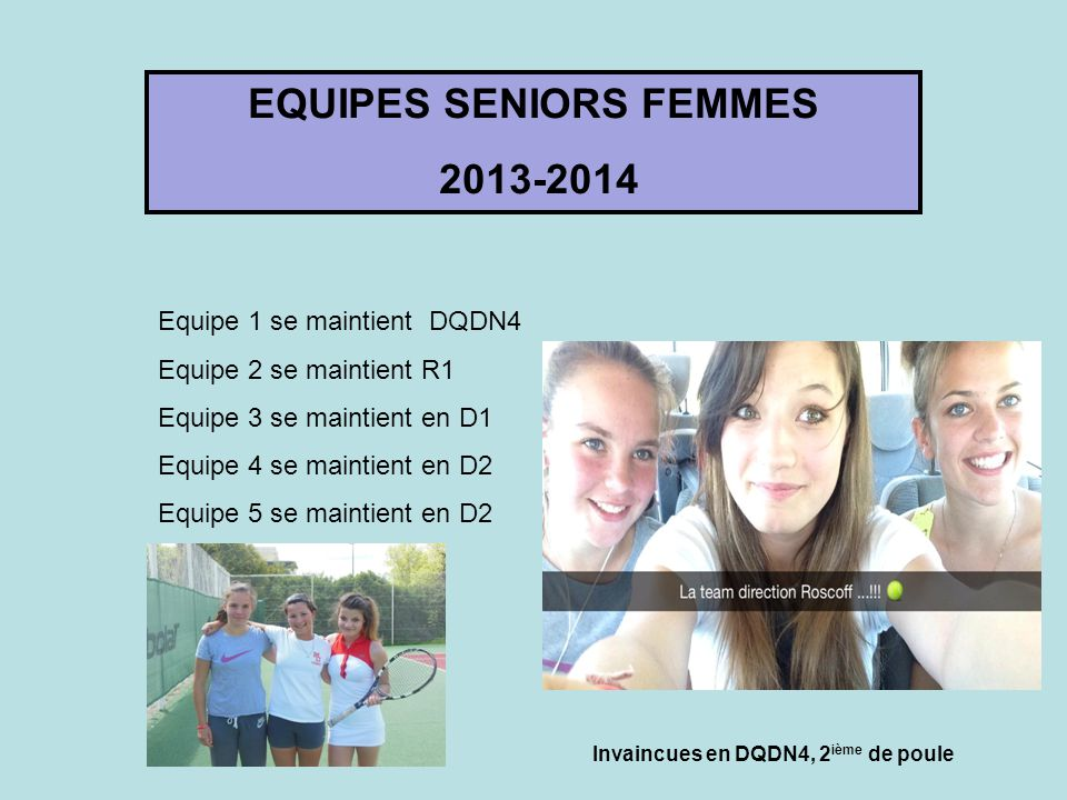 EQUIPES SENIORS FEMMES 2013-2014 Equipe 1 se maintient DQDN4 Equipe 2 se maintient R1 Equipe 3 se maintient en D1 Equipe 4 se maintient en D2 Equipe 5 se maintient en D2 Invaincues en DQDN4, 2 ième de poule