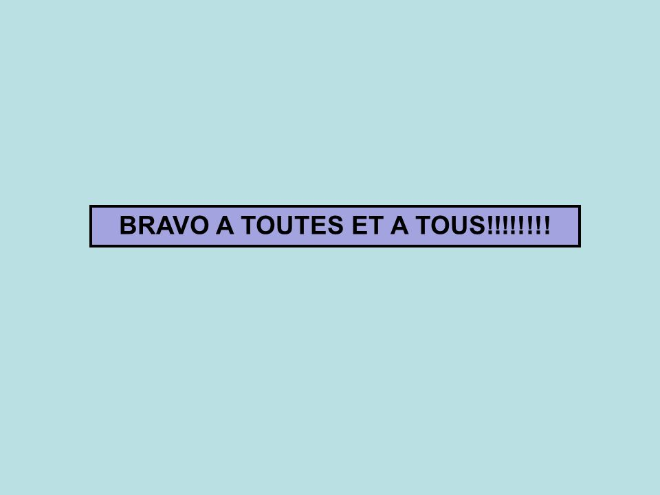 BRAVO A TOUTES ET A TOUS!!!!!!!!