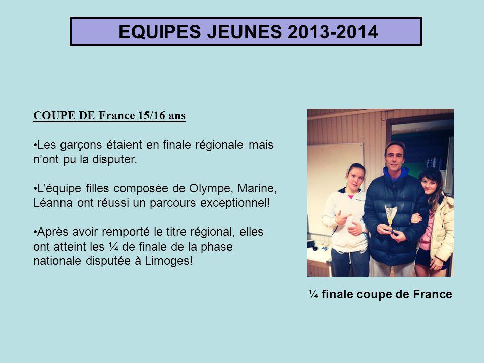 EQUIPES JEUNES 2013-2014 COUPE DE France 15/16 ans Les garçons étaient en finale régionale mais n'ont pu la disputer. L'équipe filles composée de Olym
