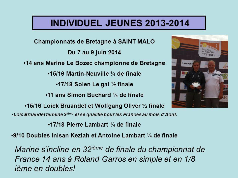 INDIVIDUEL JEUNES 2013-2014 Championnats de Bretagne à SAINT MALO Du 7 au 9 juin 2014 14 ans Marine Le Bozec championne de Bretagne 15/16 Martin-Neuvi