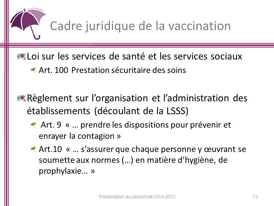Cadre juridique de la vaccination Loi sur les services de santé et les services sociaux Art.