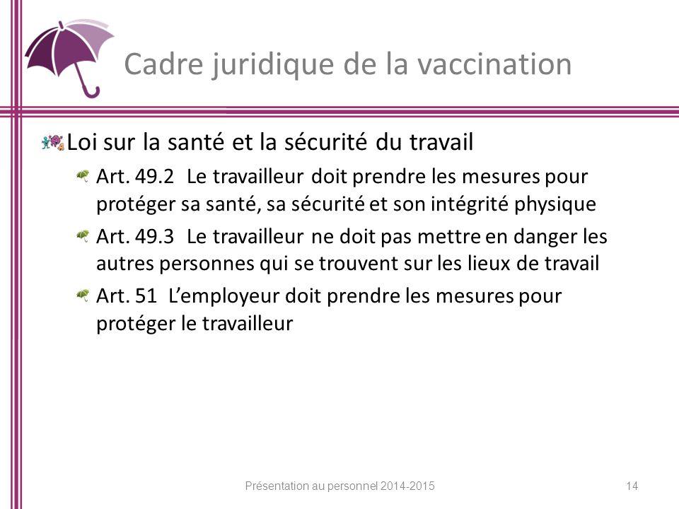 Cadre juridique de la vaccination Loi sur la santé et la sécurité du travail Art.