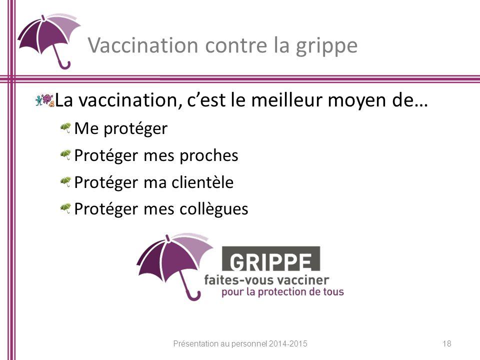Vaccination contre la grippe La vaccination, c'est le meilleur moyen de… Me protéger Protéger mes proches Protéger ma clientèle Protéger mes collègues 18 Présentation au personnel 2014-2015