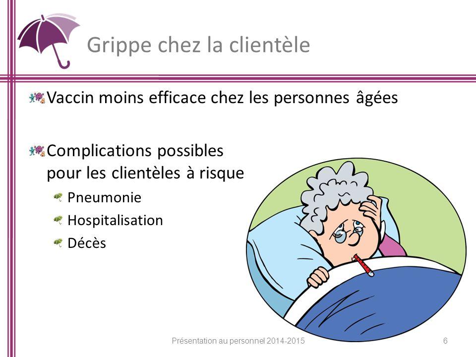 Grippe chez la clientèle Vaccin moins efficace chez les personnes âgées Complications possibles pour les clientèles à risque Pneumonie Hospitalisation Décès 6 Présentation au personnel 2014-2015