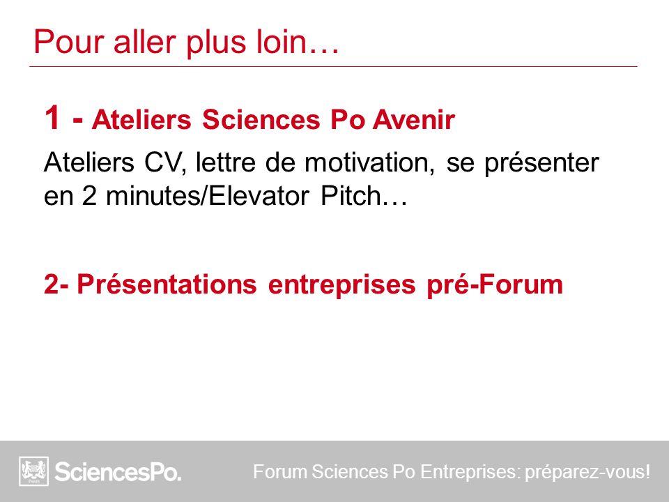 1 - Ateliers Sciences Po Avenir Ateliers CV, lettre de motivation, se présenter en 2 minutes/Elevator Pitch… 2- Présentations entreprises pré-Forum Forum Sciences Po Entreprises: préparez-vous.