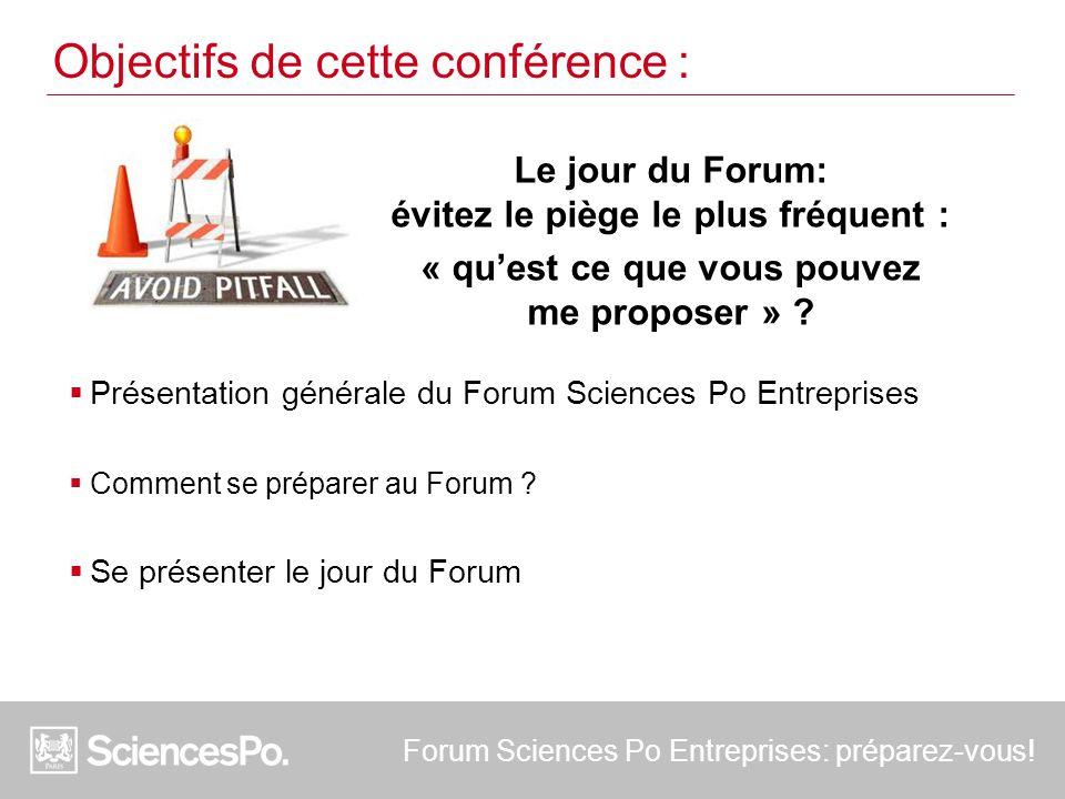  Présentation générale du Forum Sciences Po Entreprises  Comment se préparer au Forum ?  Se présenter le jour du Forum Objectifs de cette conférenc
