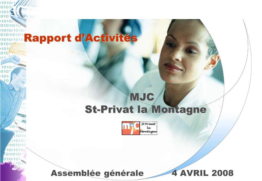 Assemblée générale4 AVRIL 2008 MJC St-Privat la Montagne Rapport d'Activités