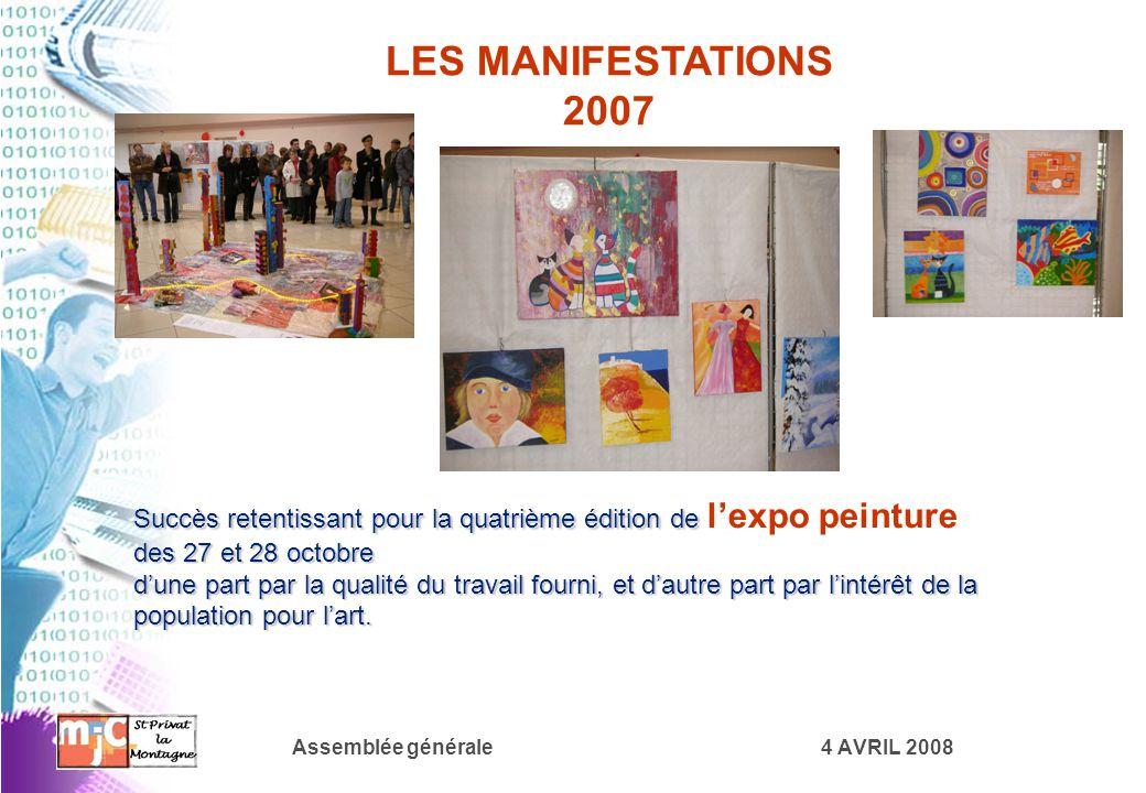 Assemblée générale4 AVRIL 2008 LES MANIFESTATIONS 2007 Succès retentissant pour la quatrième édition de des 27 et 28 octobre Succès retentissant pour