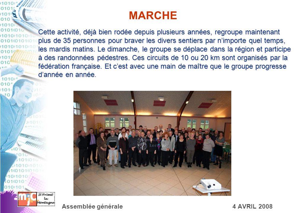 Assemblée générale4 AVRIL 2008 MARCHE Cette activité, déjà bien rodée depuis plusieurs années, regroupe maintenant plus de 35 personnes pour braver le