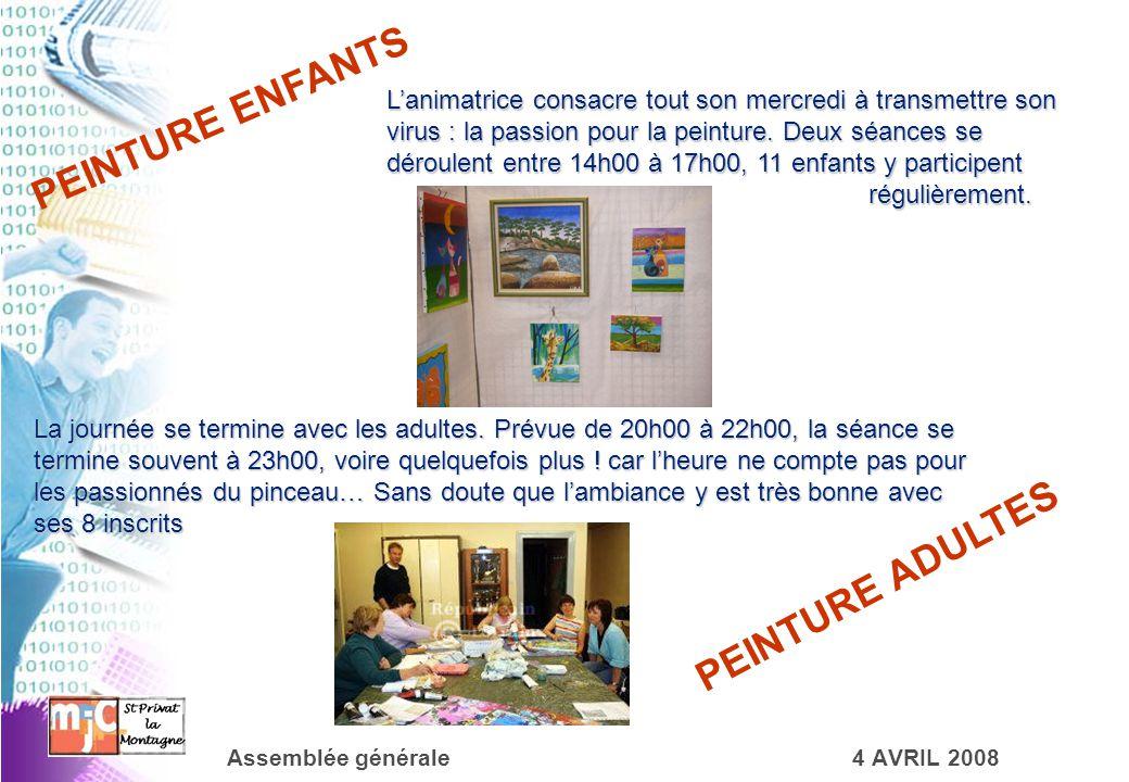 Assemblée générale4 AVRIL 2008 PEINTURE ENFANTS L'animatrice consacre tout son mercredi à transmettre son virus : la passion pour la peinture. Deux sé