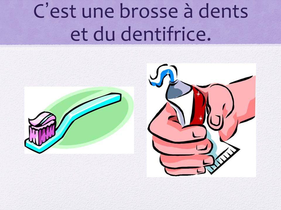 C'est une brosse à dents et du dentifrice.