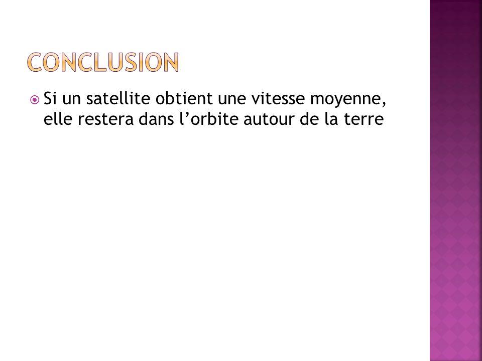  Si un satellite obtient une vitesse moyenne, elle restera dans l'orbite autour de la terre