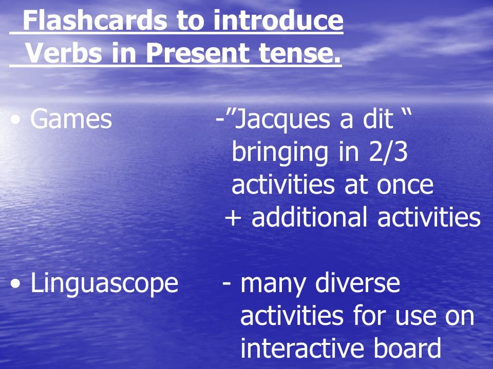 Flashcards to introduce Verbs in Present tense.