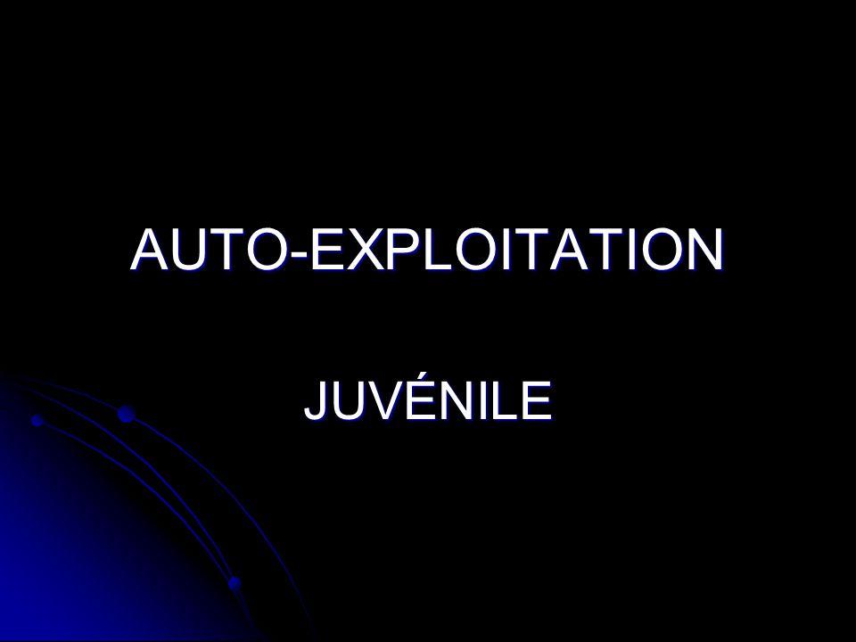 DÉFINITION L'auto-exploitation juvénile se définit comme le fait, pour une jeune personne, de créer et de transmettre ou partager avec d'autres jeunes, par internet ou appareils électroniques, des photos ou vidéos à caractère sexuel.