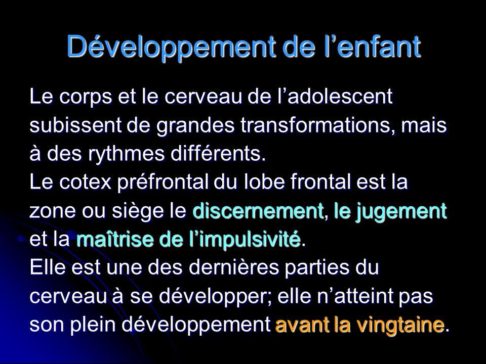 Développement de l'enfant Le corps et le cerveau de l'adolescent subissent de grandes transformations, mais à des rythmes différents. Le cotex préfron