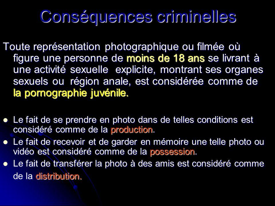 Conséquences criminelles Toute représentation photographique ou filmée où figure une personne de moins de 18 ans se livrant à une activité sexuelle ex