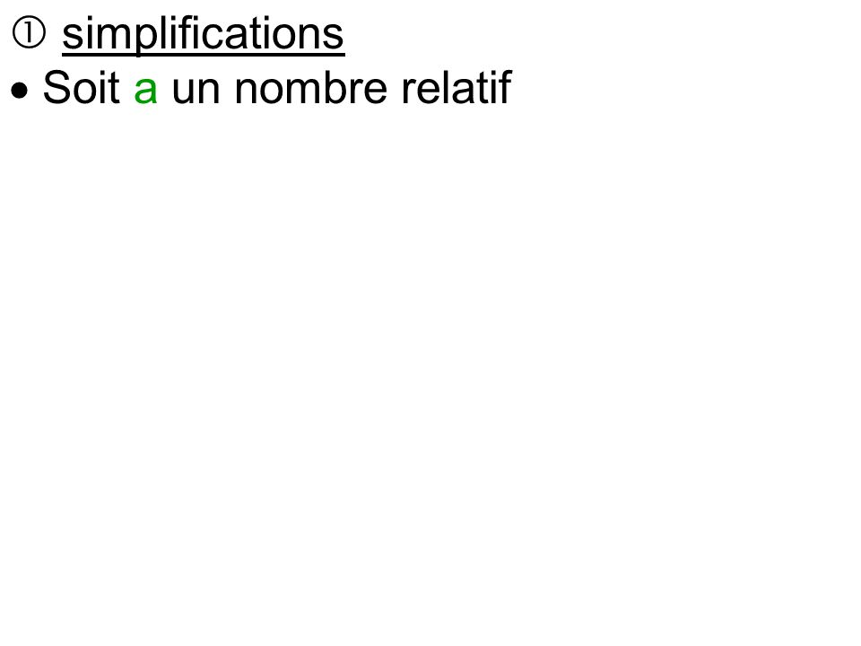  simplifications  Soit a un nombre relatif  +(+a) se remplace par +a On ajoute une rentrée d'argent  +(-a) se remplace par –a On ajoute une dette  -(+a) se remplace par –a On enlève une somme d'argent  -(-a) se remplace par +a On enlève une dette
