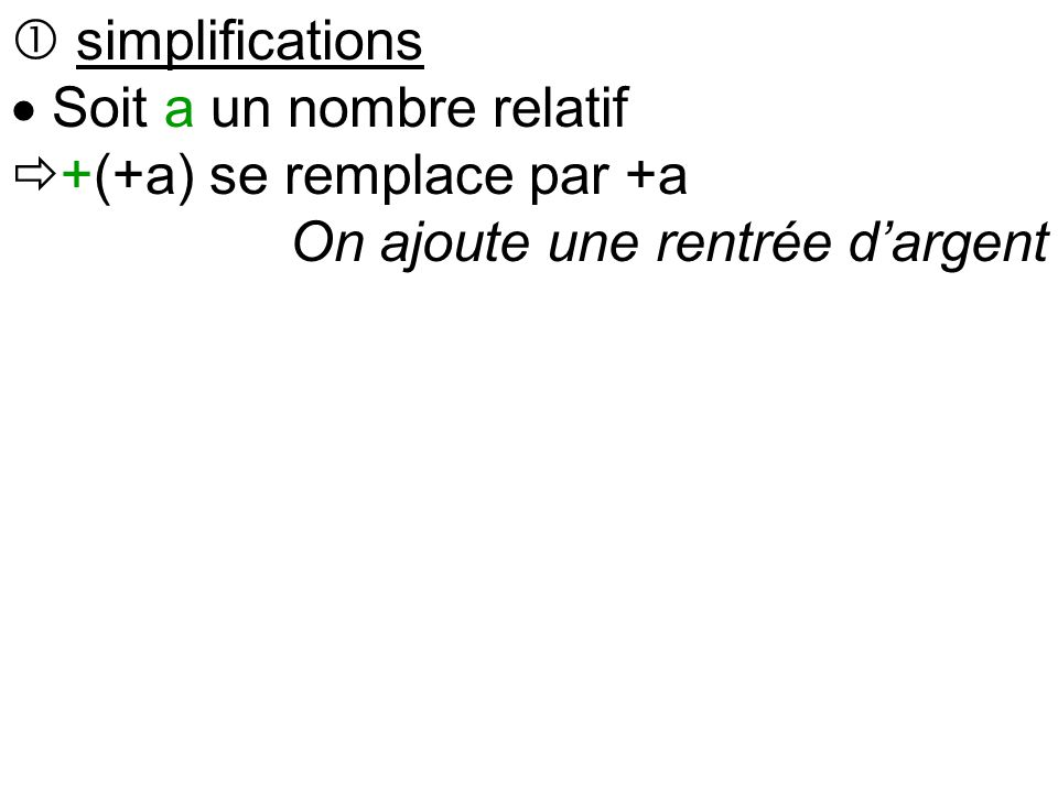  simplifications  Soit a un nombre relatif  +(+a) se remplace par +a On ajoute une rentrée d'argent  +(-a) se remplace par